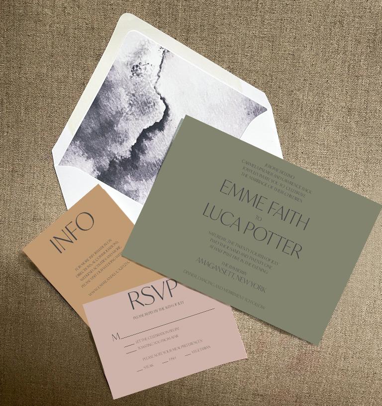 Minimalist and modern wedding invitations in flatlay