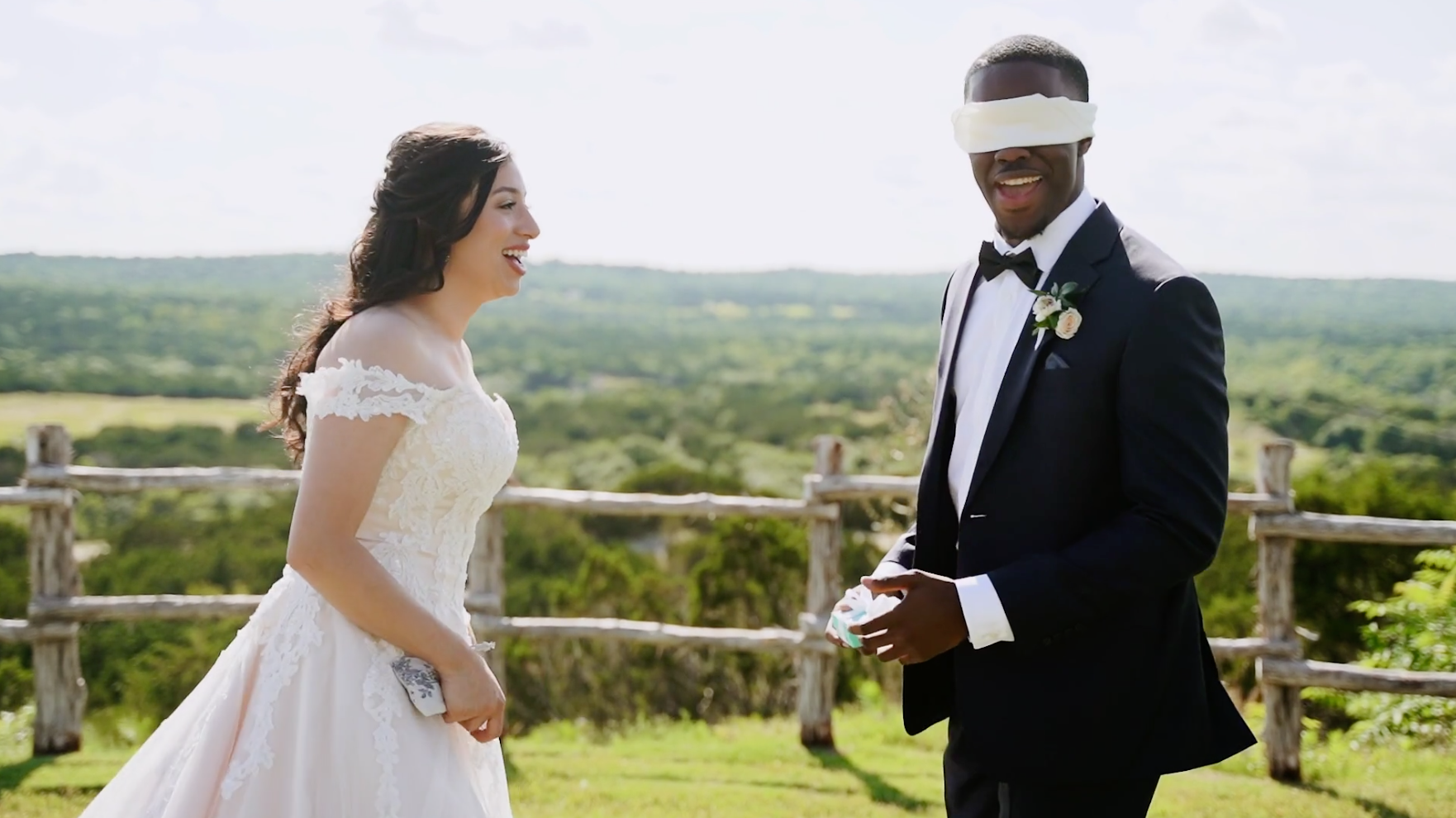 Interracial couple has best first look at rustic wedding