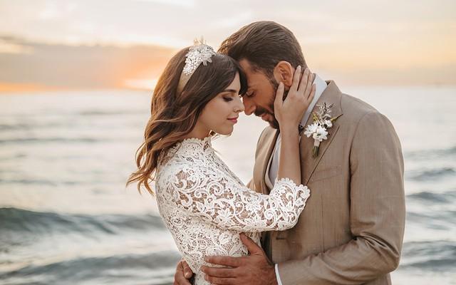 Couple embracing at intimate boho Italian elopement