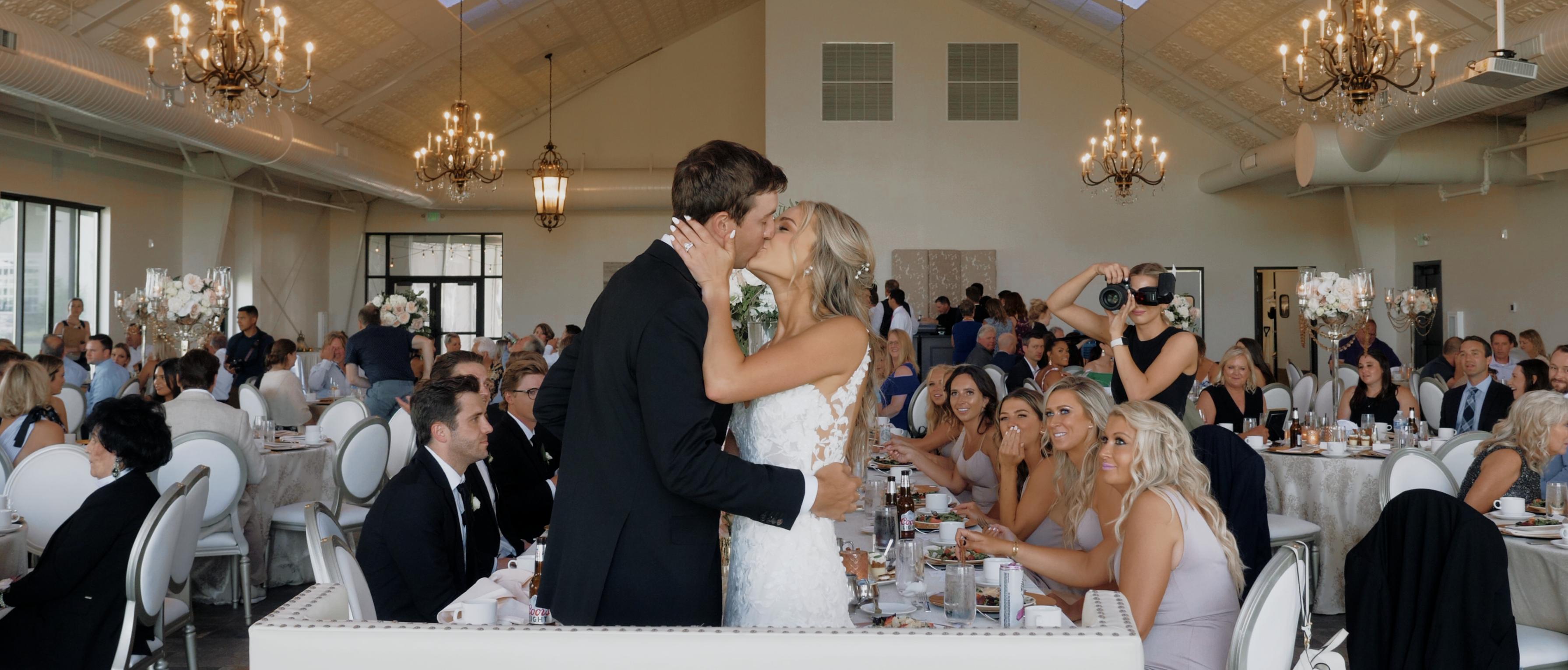 Couple kissing at elegant Christian Minnesota wedding