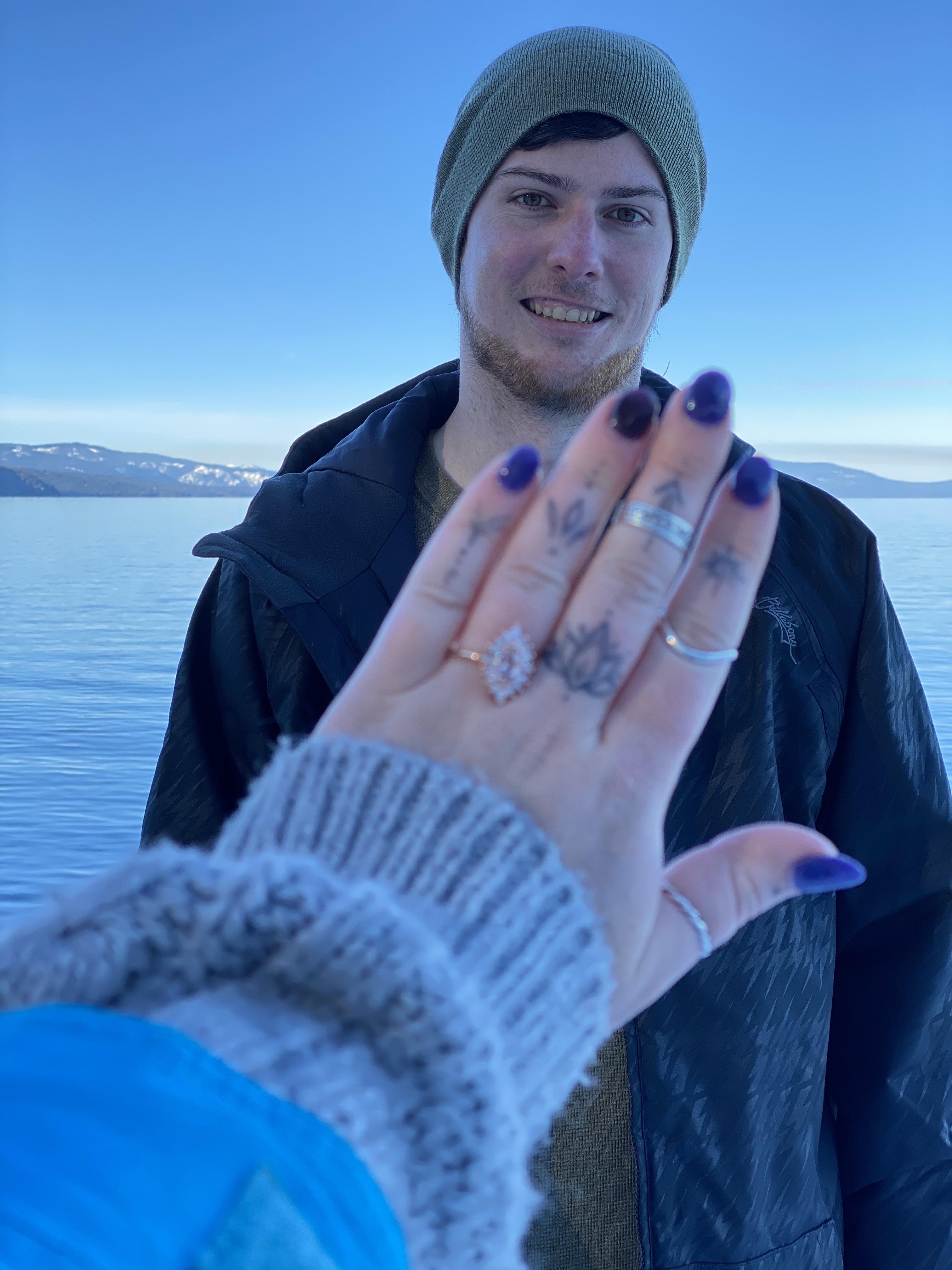 Morganite marquise engagement ring at winter proposal