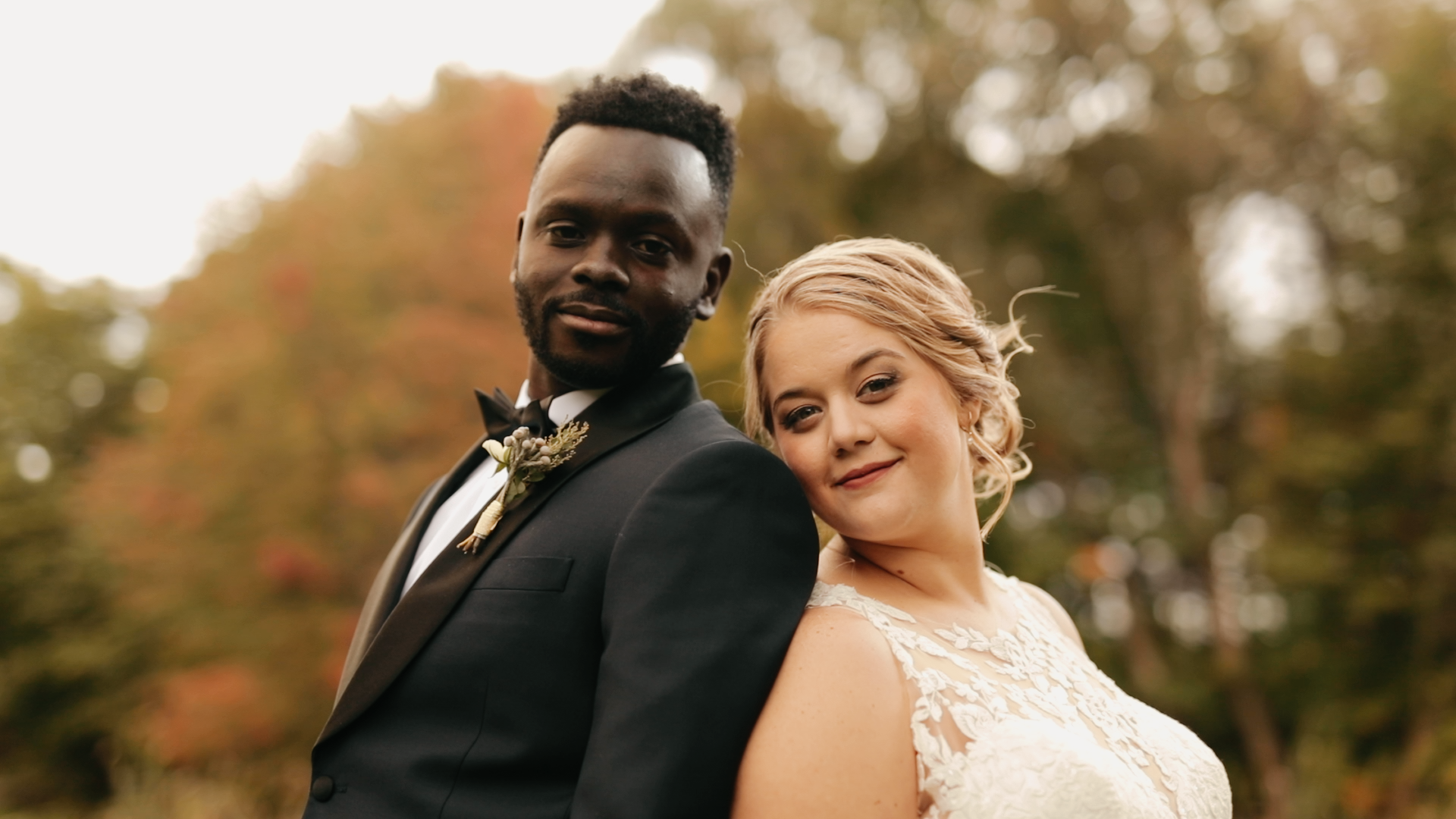 Couple at intimate, black-tie Michigan wedding